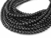 AA+ Black Spinel Micro-Faceted Rondelles 3.25-5mm ~ 8.25'' Strand