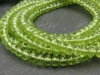 AA+ Peridot Micro-Faceted Rondelles ~ 8'' Strand