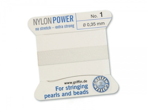 Griffin Nylon Power Beading Thread & Needle ~ Size 1 ~ White