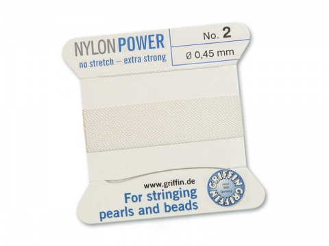 Griffin Nylon Power Beading Thread & Needle ~ Size 2 ~ White