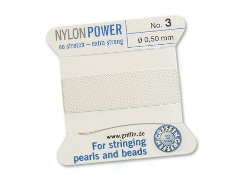 Griffin Nylon Power Beading Thread & Needle ~ Size 3 ~ White