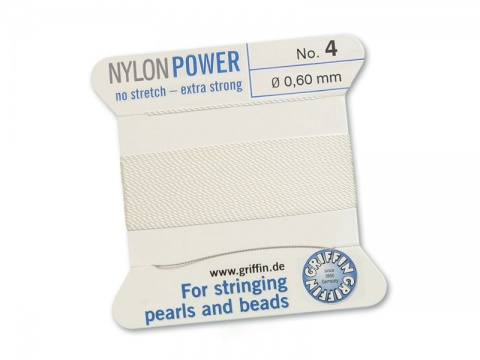 Griffin Nylon Power Beading Thread & Needle ~ Size 4 ~ White