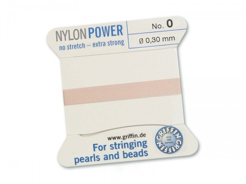 Griffin Nylon Power Beading Thread & Needle ~ Size 0 ~ Light Pink