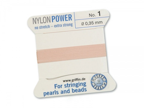 Griffin Nylon Power Beading Thread & Needle ~ Size 1 ~ Light Pink