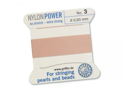 Griffin Nylon Power Beading Thread & Needle ~ Size 3 ~ Light Pink