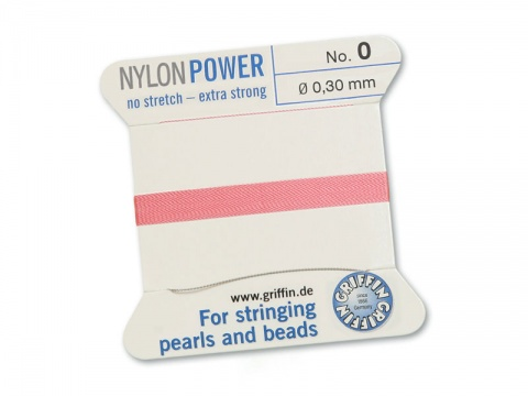 Griffin Nylon Power Beading Thread & Needle ~ Size 0 ~ Dark Pink