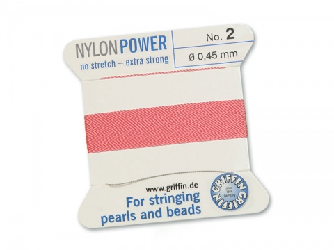 Griffin Nylon Power Beading Thread & Needle ~ Size 2 ~ Dark Pink