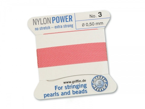 Griffin Nylon Power Beading Thread & Needle ~ Size 3 ~ Dark Pink
