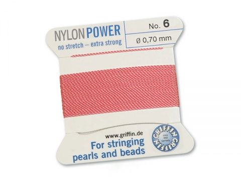 Griffin Nylon Power Beading Thread & Needle ~ Size 6 ~ Dark Pink