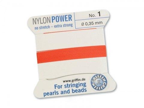 Griffin Nylon Power Beading Thread & Needle ~ Size 1 ~ Coral
