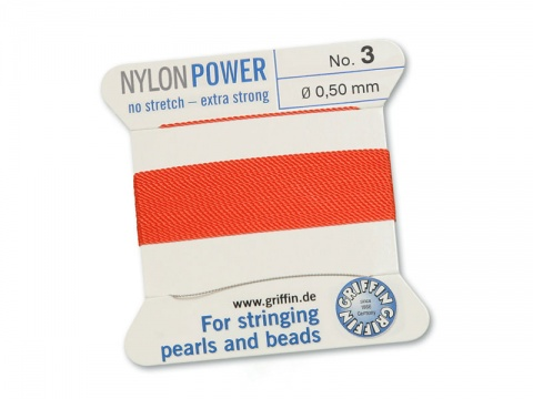 Griffin Nylon Power Beading Thread & Needle ~ Size 3 ~ Coral
