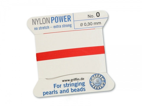 Griffin Nylon Power Beading Thread & Needle ~ Size 0 ~ Red