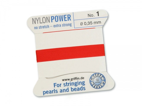 Griffin Nylon Power Beading Thread & Needle ~ Size 1 ~ Red