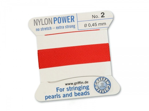Griffin Nylon Power Beading Thread & Needle ~ Size 2 ~ Red