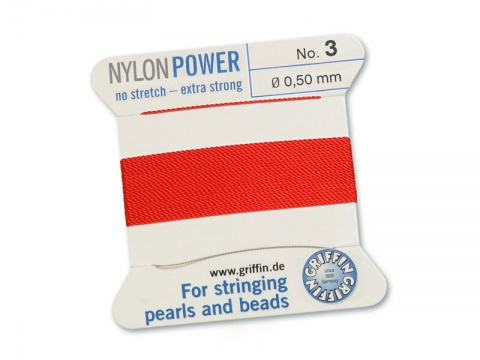 Griffin Nylon Power Beading Thread & Needle ~ Size 3 ~ Red