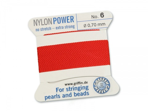 Griffin Nylon Power Beading Thread & Needle ~ Size 6 ~ Red