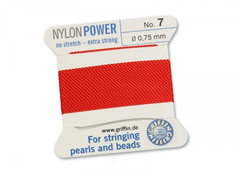 Griffin Nylon Power Beading Thread & Needle ~ Size 7 ~ Red