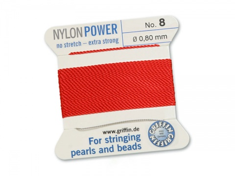 Griffin Nylon Power Beading Thread & Needle ~ Size 8 ~ Red