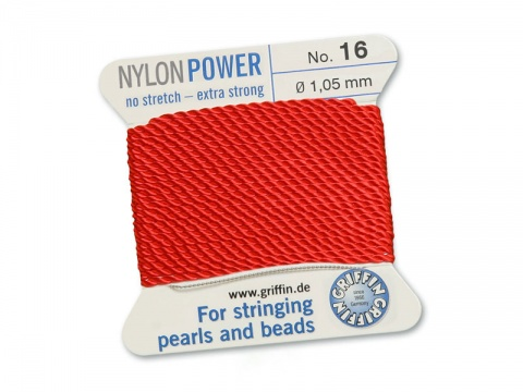 Griffin Nylon Power Beading Thread & Needle ~ Size 16 ~ Red