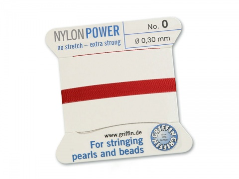 Griffin Nylon Power Beading Thread & Needle ~ Size 0 ~ Garnet
