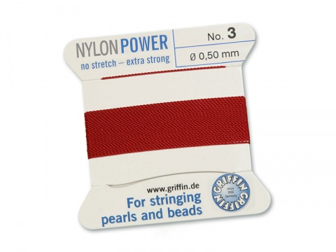 Griffin Nylon Power Beading Thread & Needle ~ Size 3 ~ Garnet