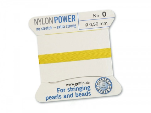 Griffin Nylon Power Beading Thread & Needle ~ Size 0 ~ Yellow