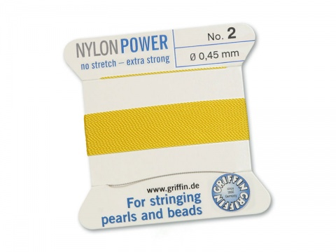 Griffin Nylon Power Beading Thread & Needle ~ Size 2 ~ Yellow