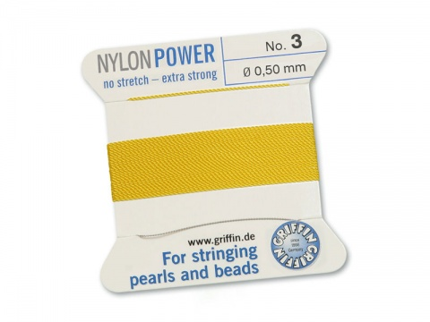 Griffin Nylon Power Beading Thread & Needle ~ Size 3 ~ Yellow