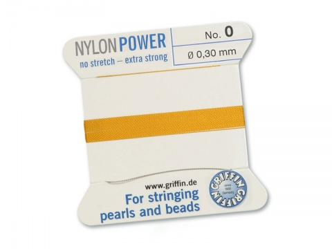 Griffin Nylon Power Beading Thread & Needle ~ Size 0 ~ Amber