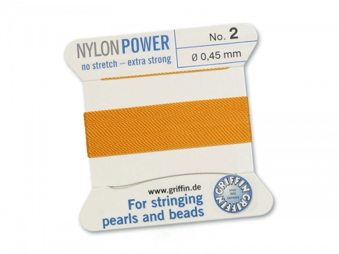 Griffin Nylon Power Beading Thread & Needle ~ Size 2 ~ Amber