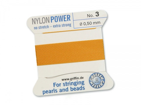 Griffin Nylon Power Beading Thread & Needle ~ Size 3 ~ Amber