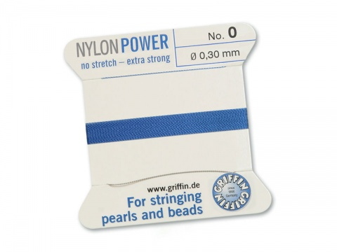 Griffin Nylon Power Beading Thread & Needle ~ Size 0 ~ Blue