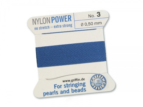 Griffin Nylon Power Beading Thread & Needle ~ Size 3 ~ Blue