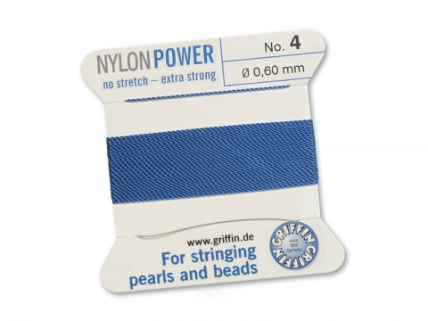 Griffin Nylon Power Beading Thread & Needle ~ Size 4 ~ Blue
