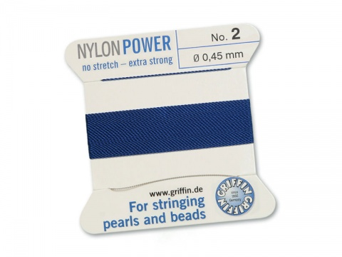Griffin Nylon Power Beading Thread & Needle ~ Size 2 ~ Dark Blue