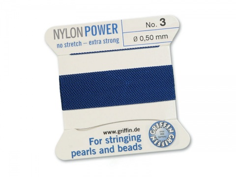 Griffin Nylon Power Beading Thread & Needle ~ Size 3 ~ Dark Blue