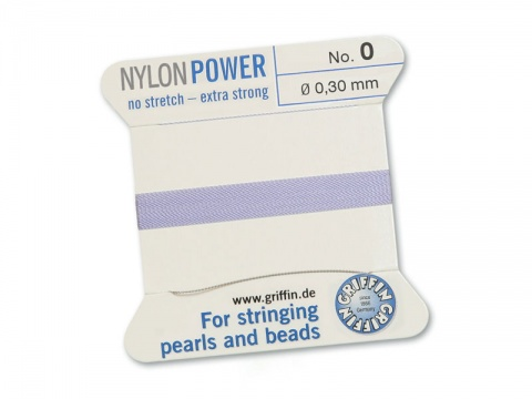 Griffin Nylon Power Beading Thread & Needle ~ Size 0 ~ Lilac