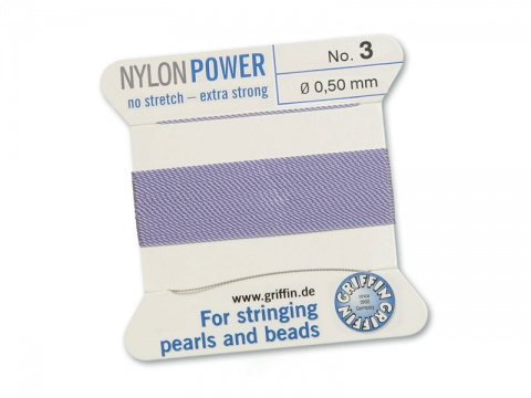 Griffin Nylon Power Beading Thread & Needle ~ Size 3 ~ Lilac