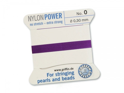 Griffin Nylon Power Beading Thread & Needle ~ Size 0 ~ Amethyst