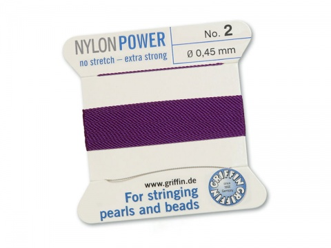 Griffin Nylon Power Beading Thread & Needle ~ Size 2 ~ Amethyst
