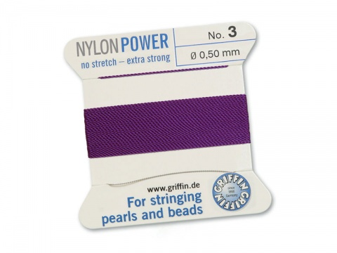 Griffin Nylon Power Beading Thread & Needle ~ Size 3 ~ Amethyst
