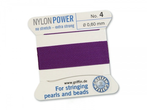 Griffin Nylon Power Beading Thread & Needle ~ Size 4 ~ Amethyst