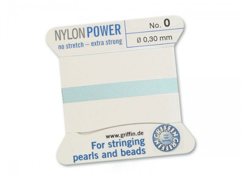 Griffin Nylon Power Beading Thread & Needle ~ Size 0 ~ Light Blue
