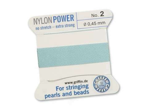 Griffin Nylon Power Beading Thread & Needle ~ Size 2 ~ Light Blue