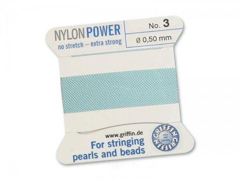 Griffin Nylon Power Beading Thread & Needle ~ Size 3 ~ Light Blue