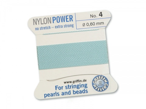 Griffin Nylon Power Beading Thread & Needle ~ Size 4 ~ Light Blue