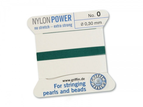 Griffin Nylon Power Beading Thread & Needle ~ Size 0 ~ Green