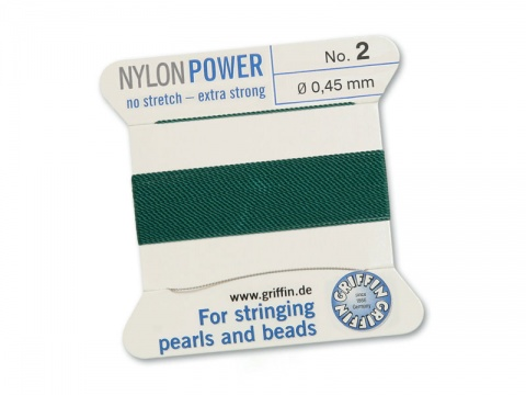 Griffin Nylon Power Beading Thread & Needle ~ Size 2 ~ Green