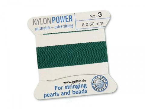 Griffin Nylon Power Beading Thread & Needle ~ Size 3 ~ Green