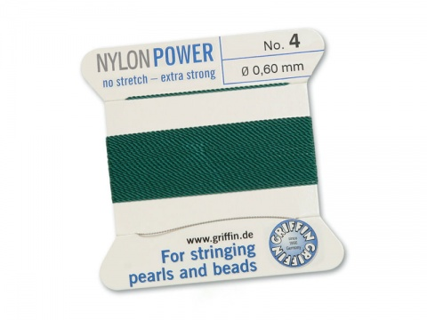 Griffin Nylon Power Beading Thread & Needle ~ Size 4 ~ Green